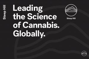 "An image with Steep Hill's logo and the words, ""Leading the Science of Cannabis Globally"
